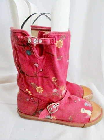 Womens SUGAR BRAND OWL BIRD ANIMAL Boots 8.5 Vegan BERRY PINK Buckle