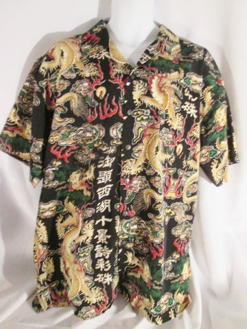 NEW Mens ULTRA BAY BY KBB TATTOO ART DRAGON Button-Up Shirt BLACK XXL Hip Hop Rapper NWT