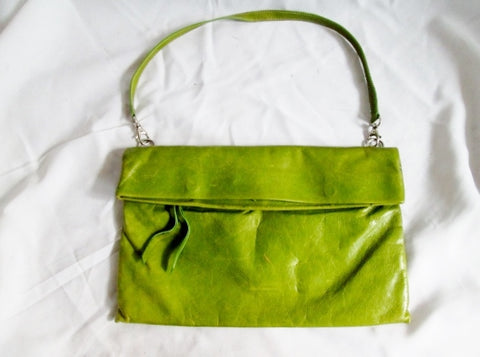 GIANNI CHIARINI ITALIAN DESIGNER leather shoulder bag flap purse GREEN AVOCADO