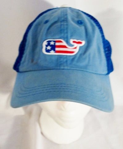 VINEYARD VINES EMBROIDERED WHALE baseball cap hat BLUE AMERICAN FLAG OS