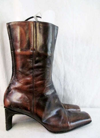 Womens NINE WEST LEATHER Mid Calf Boots Shoe BROWN 11 Square Toe