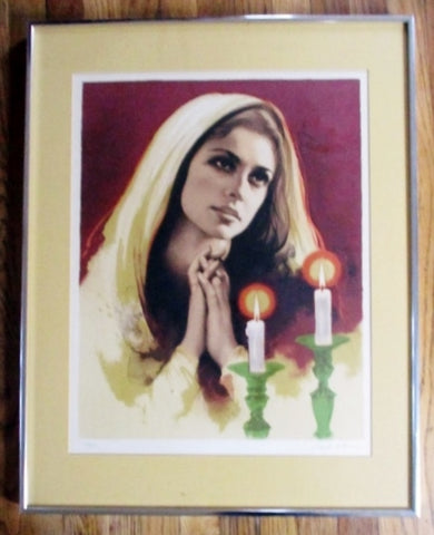 SIGNED SANDU LIEBERMAN RELIGIOUS Lady LITHOGRAPH Picture ART Kitsch