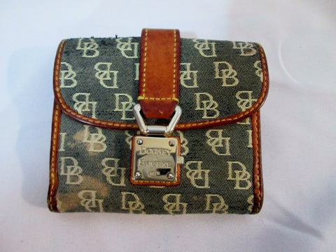 DOONEY & BOURKE Signature Logo Bifold Purse Wallet Pouch GRAY BROWN