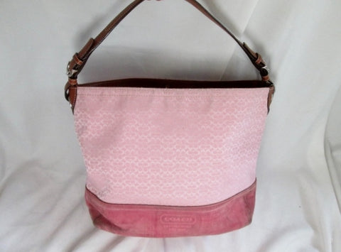 COACH F11666 Signature Jacquard Leather Canvas Bucket Hobo Shoulder Bag PINK Suede