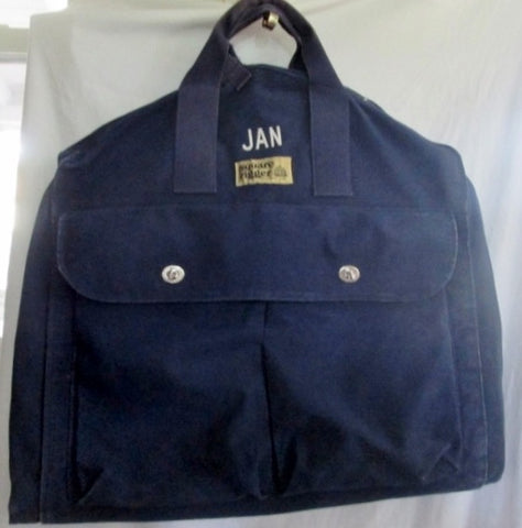 LAND'S END SQUARE RIGGER Garment Bag Luggage Duffle Carry-On Bag BLUE Bi-Fold