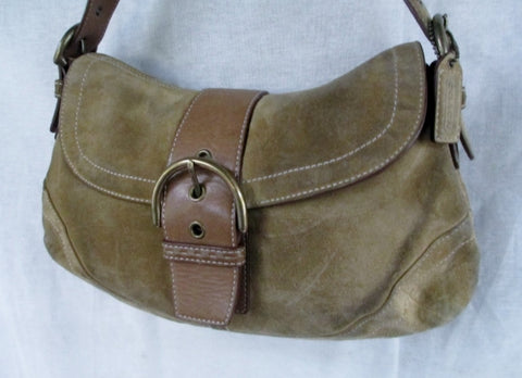 COACH 9688 SOHO Leather Hobo Handbag Satchel Purse Shoulder Bag BROWN Suede