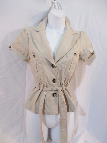 NEW WOMENS Heart Soul Button Blouse Shirt Top XS BEIGE Belt Pockets Safari