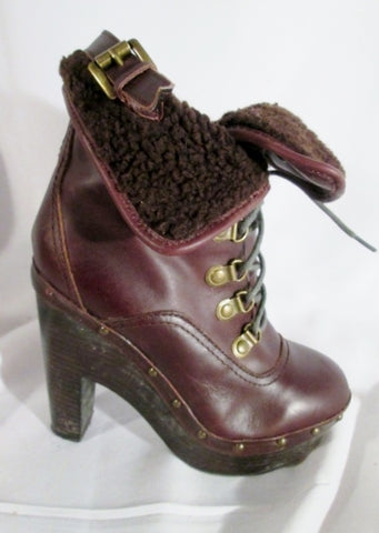 Womens DV DOLCE VITA LEATHER Steampunk High Heel Ankle BOOT Shoe 6 RED BROWN