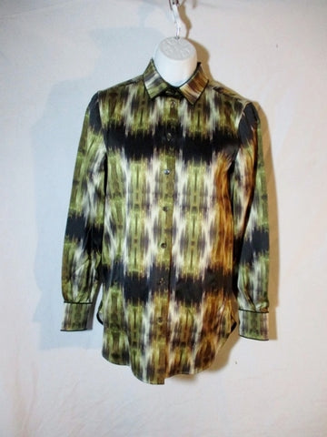 NEW NWT CELINE FRANCE Button-Up SHINY Top Shirt 36 / 4 Long Sleeve Womens