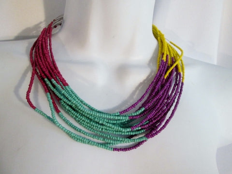 MULTI-STRAND Ethnic LOVE BEAD Festival Ethnic Necklace Choker Purple Aqua Yellow Blue