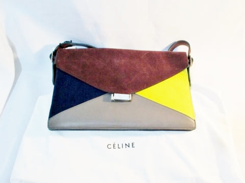 NEW NWT CELINE DIAMOND Calf Hair Leather Purse MEDIUM Shoulder Bag MULTI Envelope