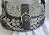 COACH F10425 Signature C Jacquard Hobo Handbag Satchel Canvas BLACK GRAY Leather