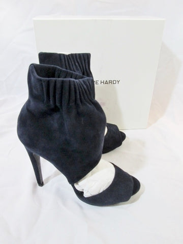 NEW NIB PIERRE HARDY SUEDE KID NAVY Stiletto Heel Shoe 36.5 6 ITALY Womens Peep Toe