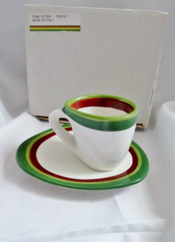 NEW Set 2 TOSIN ITALY Handmade Pottery Ceramic Espresso Mug Cup Dish Saucer GREEN RED