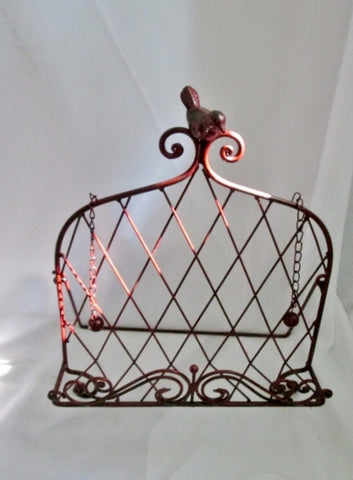 Decorative Metal BIRD Cook Book Stand Art Holder Easel - Oxblood RED Finish