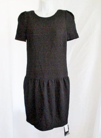 NEW NWT GUCCI ITALY Silk Blend Ruffle Cocktail dress 42 / 6 BLACK WOMENS
