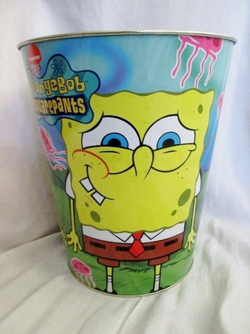 2004 SpongeBob Squarepants Metal Wastebasket Trash Garbage Can JELLYFISH Bucket