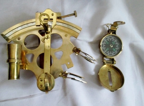 Set Vintage Brass SEXTANT COMPASS Lot Nautical Navigation Tool Scope Maritime Display