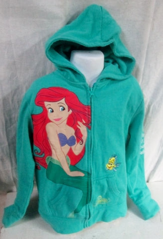 Girls DISNEY PRINCESS THE LITTLE MERMAID ARIEL Sweatshirt JACKET Hoodie Sweatshirt M Green