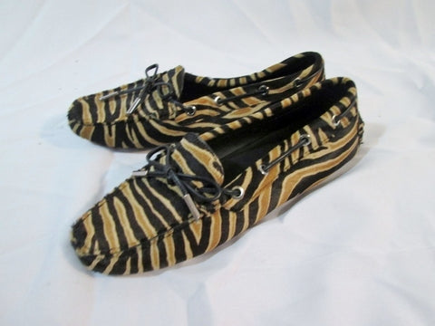 NEW Womens TOD'S ITALY CALF HAIR ZEBRA Driving Moccasin Shoe 36 6 Leather