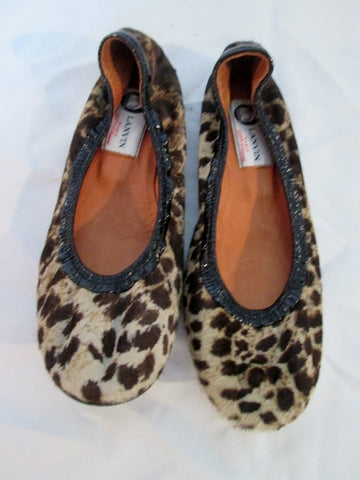 Womens LANVIN PARIS Calf Hair Fur Leather Ballet Flat Shoe 36.5 / 6 LEOPARD