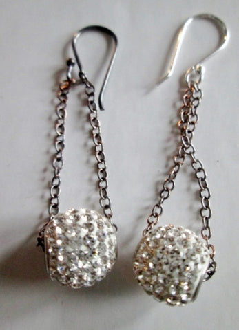 NEW 925 STERLING SILVER BALL RHINESTONE 18K Plated Crystal EARRING Jewelry  Dangle Set