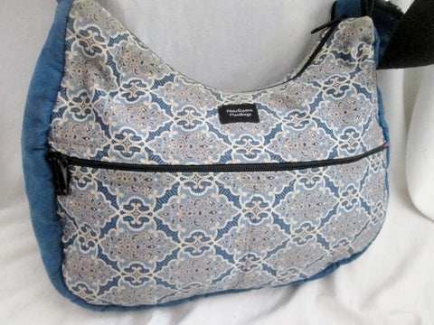 MADISON HANDBAGS vegan cloth shoulder bag satchel hobo purse sling bucket BLUE