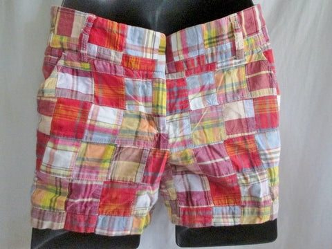 Womens J. CREW CITY FIT Casual Cotton SHORTS MADRAS PLAID 0 RED BLUE ORANGE