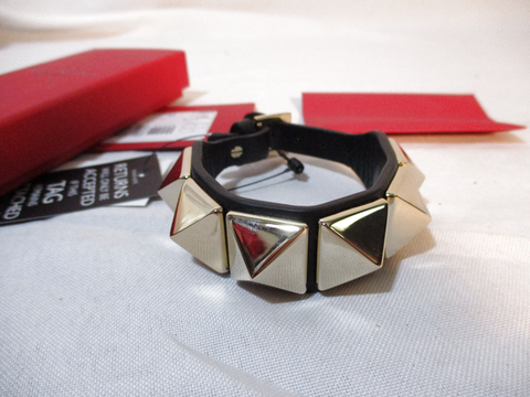 NEW VALENTINO GARAVANI SPIKE Leather ROCKSTUD Cuff Bracelet BLACK GOLD SPIKE Italy