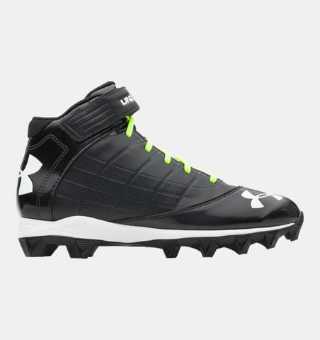 Mens UNDER ARMOUR 1235876-001 UA Crusher Mid Football Cleats BLACK 15 Sneaker Trainer Shoes Athletic