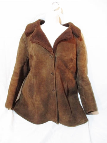 LE DAIM ET L'AGNEAU FRANCE SHEARLING SUEDE jacket coat BROWN M Leather