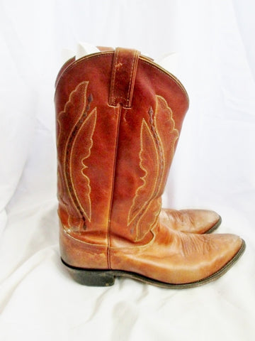Mens JUSTIN USA 2611 Western Cowboy Rocker Riding Leather BOOT 13 BROWN Rider