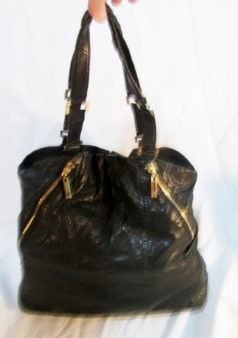 Authentic TORY BURCH CAVIAR leather hobo satchel bag tote purse BLACK Zip GOLD