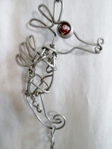 HANDMADE SEAHORSE Wire Bead Crystal Mobile Ornament Statement Mermaid CALIFORNIA