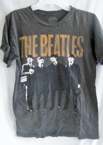 EUC Genuine MENS BEATLES 1960s CLASSIC ROCK BAND 100% T-SHIRT M BROWN Music