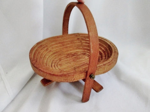 Handmade Handcrafted HIRAM Maine Spiral Collapsible Wooden Basket Bowl Trivet