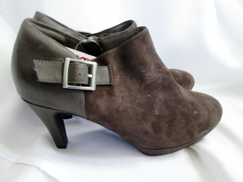 NEW Womens CLARKS Suede High Heel Ankle CUBAN BOOTS BROWN 7.5 Booties Shoe