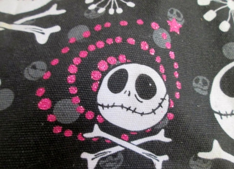 NIGHTMARE BEFORE CHRISTMAS SKULL CROSSBONES Bag Hobo Purse BLACK WHITE PINK Star