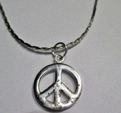"18.5"" PEACE SIGN 925 STERLING SILVER LOVE NECKLACE CHOKER Mini 1960s STYLE"