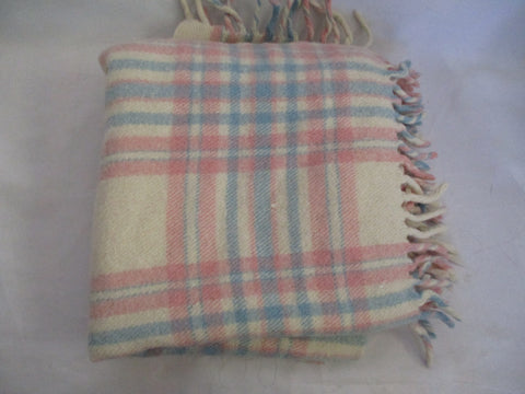 SUPERWASH FOR LANDAU Wool Blanket Throw PLAID TARTAN PINK BLUE Fringe