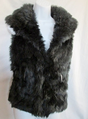 Womens BLANC NOIR faux vegan fur vest sleeveless jacket hipster coat BLACK M shaggy