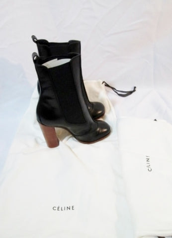 NEW NIB Womens CELINE PARIS Leather High Heel Bootie Ankle Boot 37 6.5 BLACK