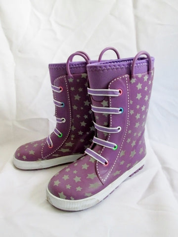 Kids Girls Youth WESTERN CHIEF COLD RATED RAIN SNOW Boots 13 / 1 PURPLE STAR