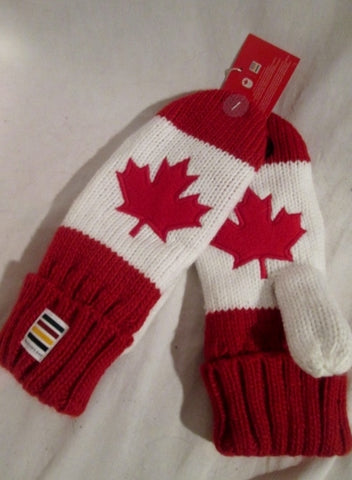 NEW NWT OLYMPICS OFFICIAL CANADA LEAF RED Mittens Gloves S/M P/M Knit
