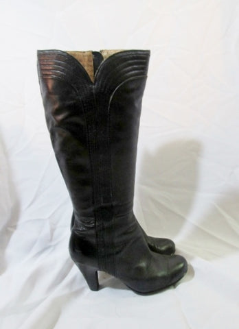 Womens SOFFT Leather Knee High Tall Scallop Boot 7 BLACK High Heel Stitch