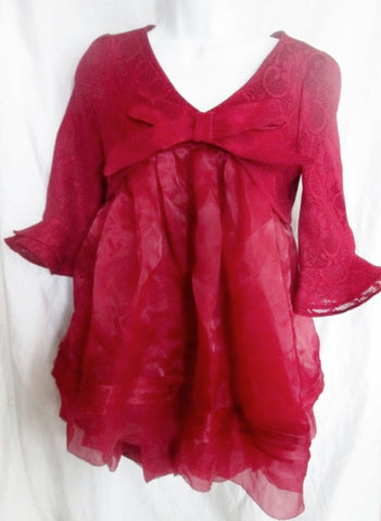 NEW WOMENS QINPEI Pierced Lace Bow Mini dress STYLEWE WINE RED L Burgundy