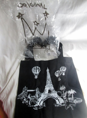 NEW ANTTHONY ORIGINALS Eiffel Tower Balloon Vegan Tote Shopper Carryall BLACK