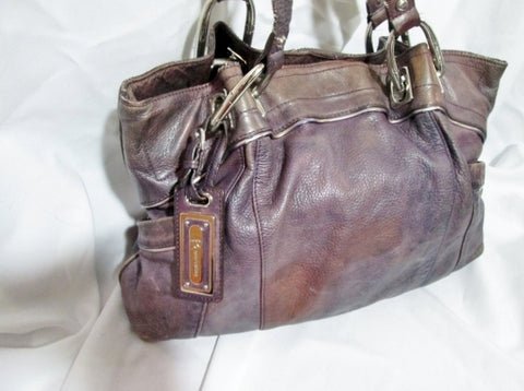 B. MAKOWSKY Leather TOTE HOBO saddle satchel bag PURPLE BROWN pockets