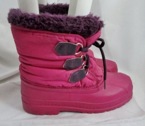 Kids Youth Girls SOREL Insulated Rain Snow Duck Boots Shoes Winter PINK 6 PURPLE