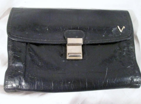 """V"" Flap Trifold Case Bag Change purse Wallet Organizer Leather Clutch BLACK Silver"